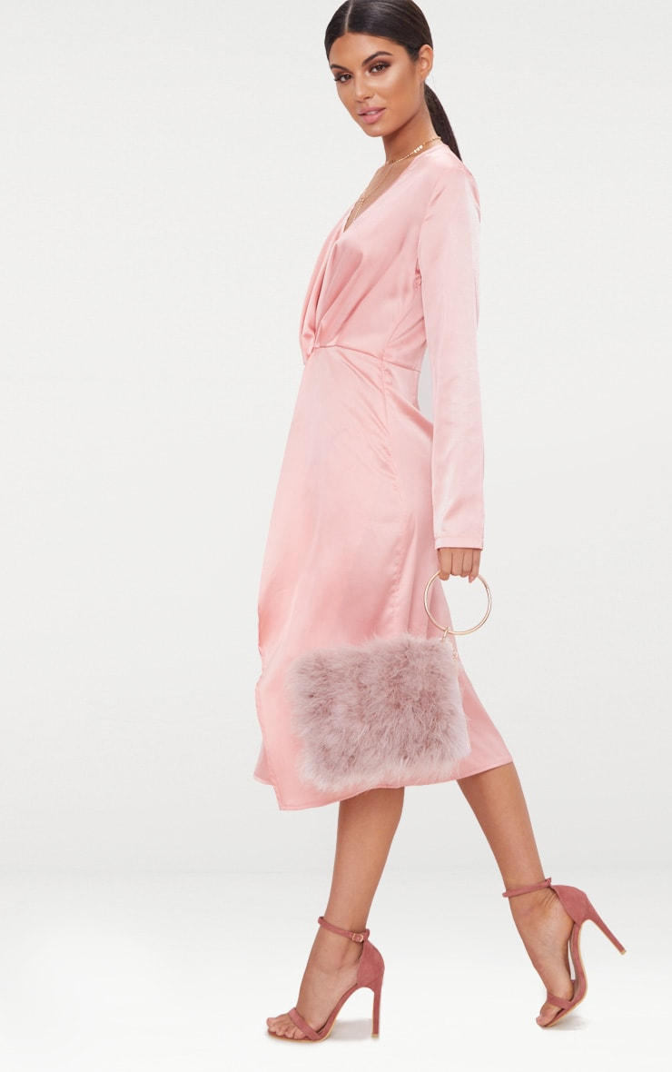 Blush Satin Long Sleeve Wrap Midi Dress 4