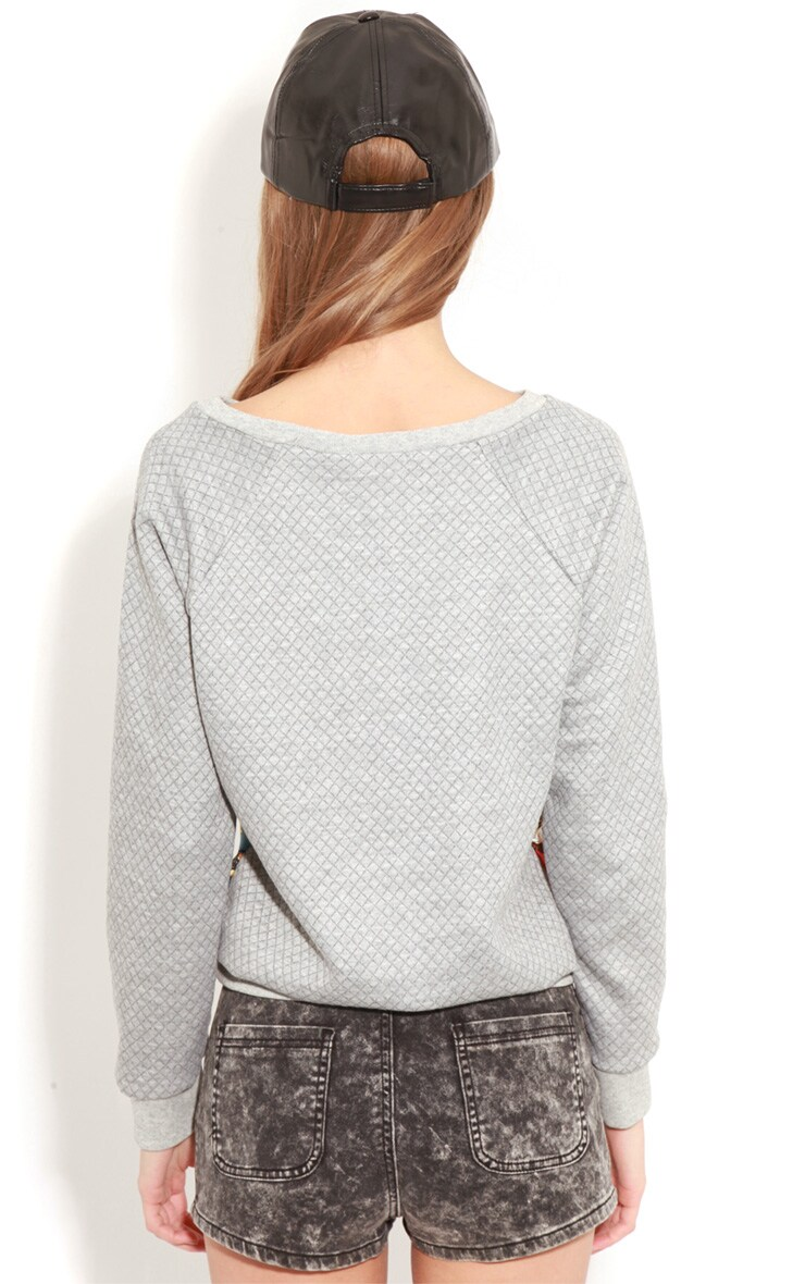 Iris Grey Quilted Jumper With Silk Print 2