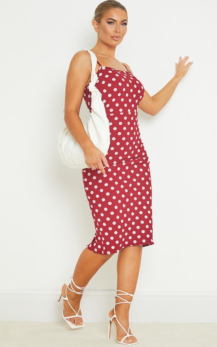 Burgundy Polka Dot Crepe Strappy Midi Dress 3