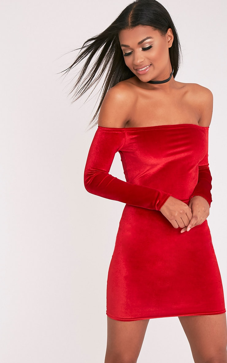 Fiah Red Velvet Bardot Bodycon Dress 1