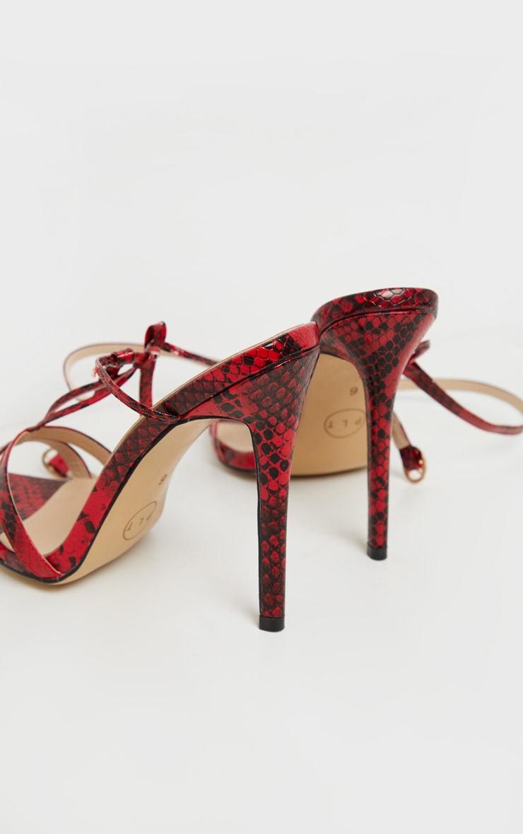 Sandales pointues rouge imprimé serpent à détail noeud 4