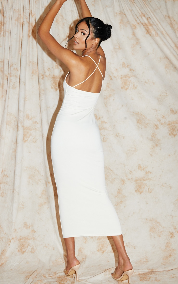 Recycled Tall Cream Contour Jersey Strappy Ruched Midi Dress 2