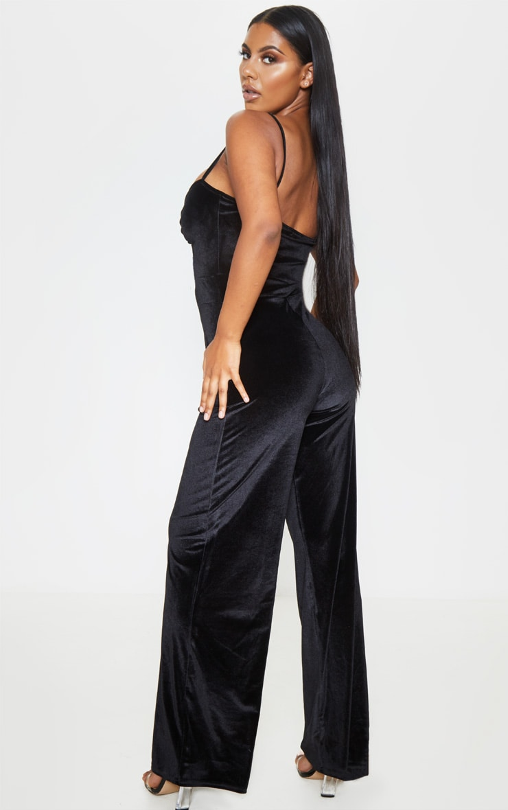 Black Velvet Lace Up Strappy Jumpsuit 2