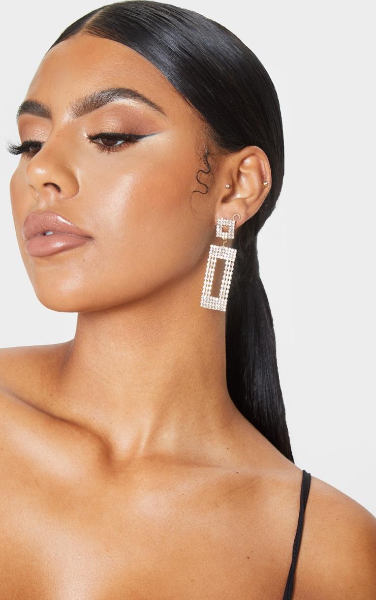 Gold Diamante Door Knocker Earrings 2