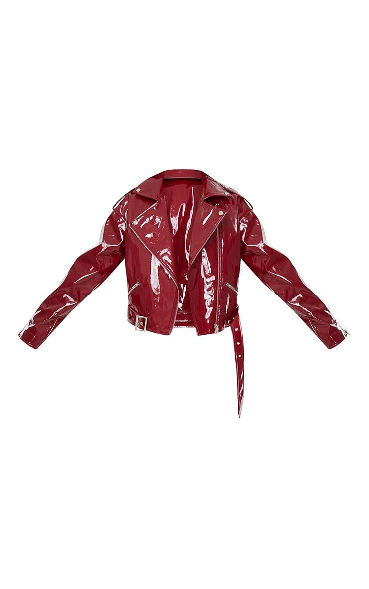 Burgundy Vinyl Zip Up Belted Jacket 5