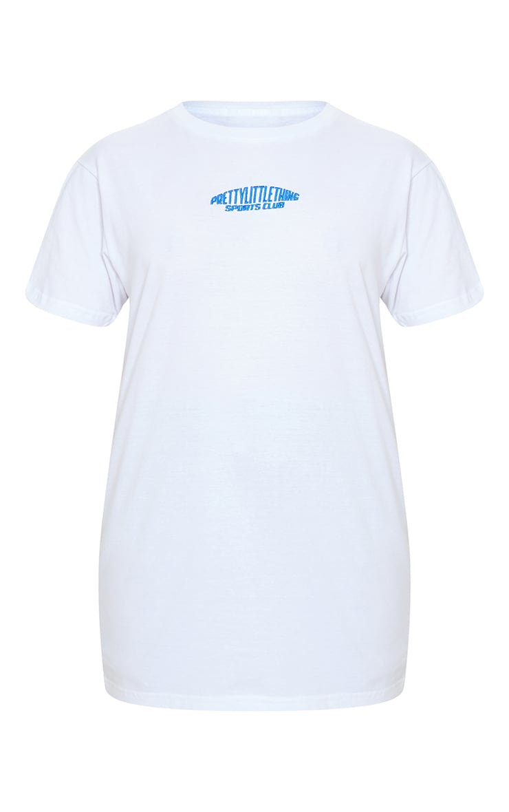 PRETTYLITTLETHING Petite White Sports Club Embroidered Oversized T-Shirt 5