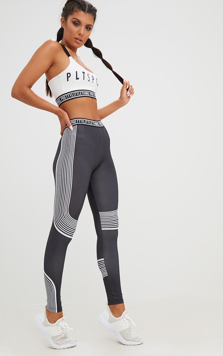 PRETTYLITTLETHING Black Contour Stripe Leggings 1