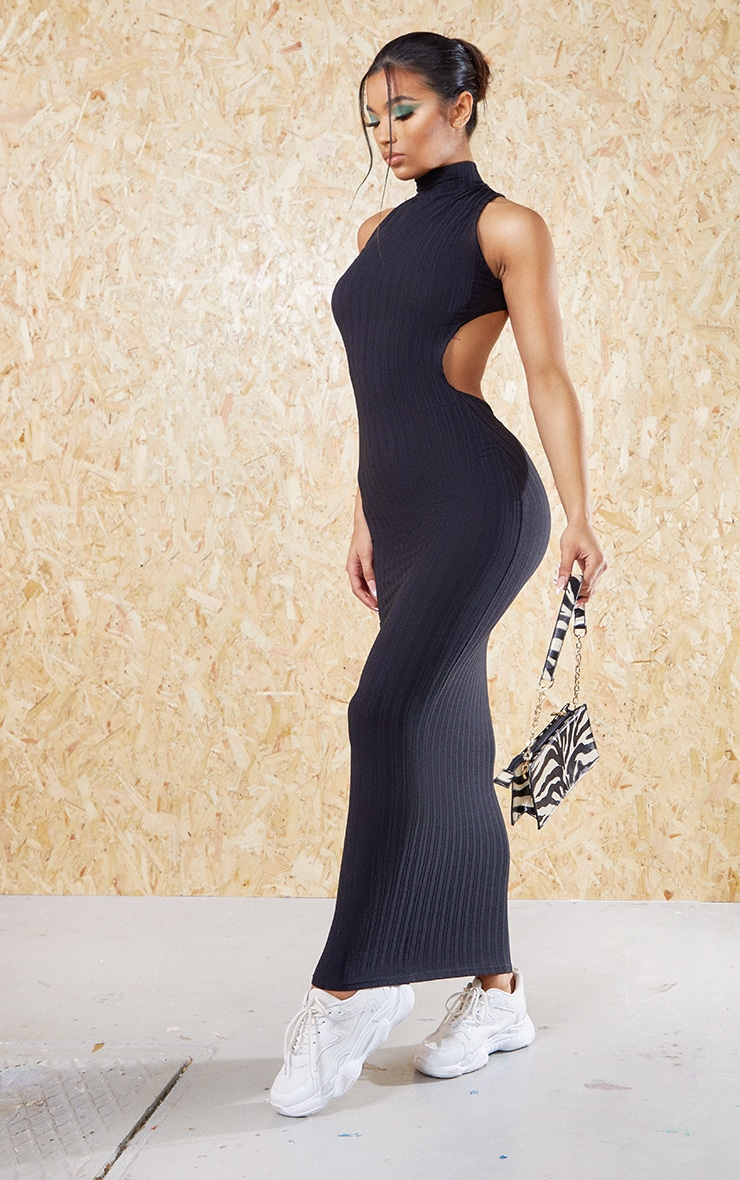 Black Recycled High Neck Cut Out Back Midi Dress 3