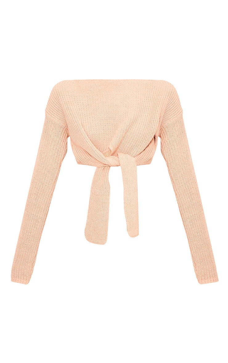 Bess Blush Front Tie Detail Mini Cropped Jumper 3