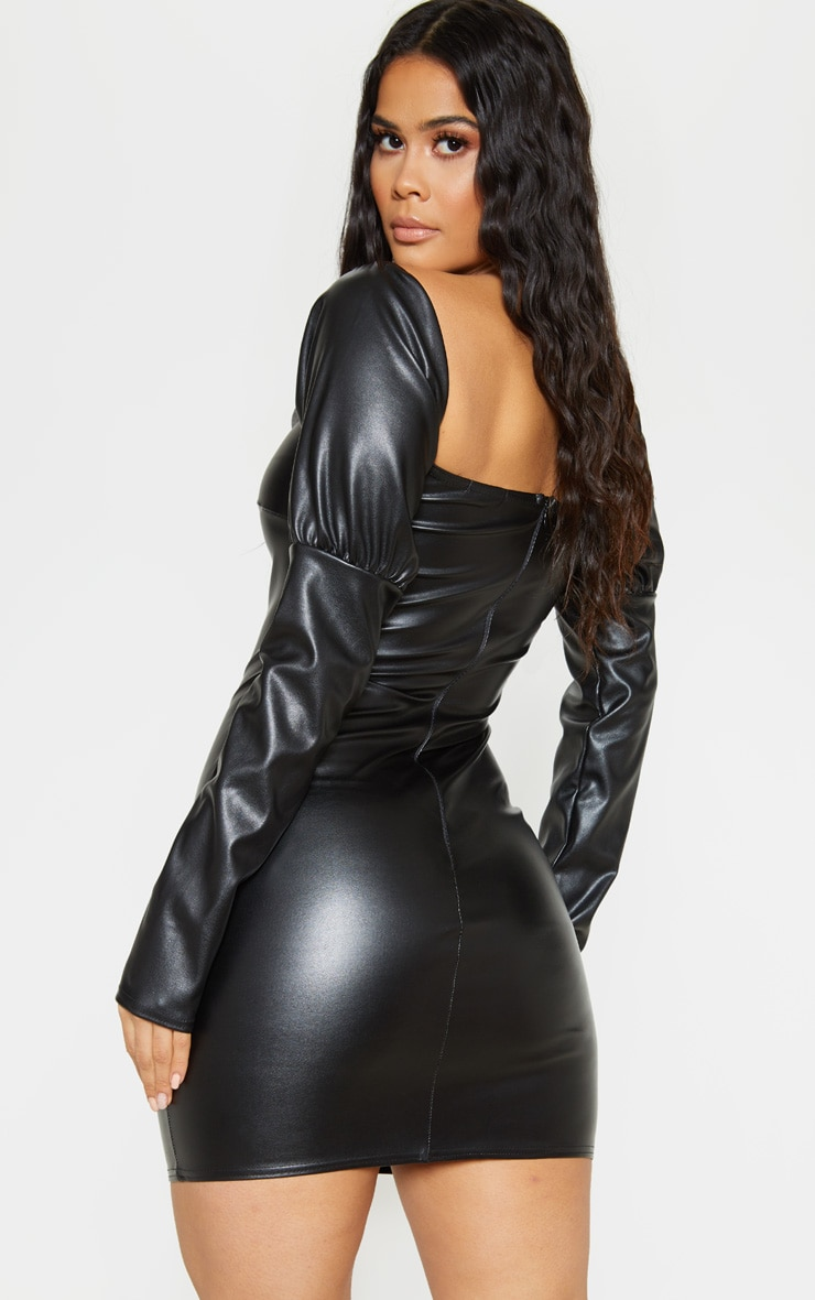 Black Faux Leather Puff Shoulder Bodycon Dress 2