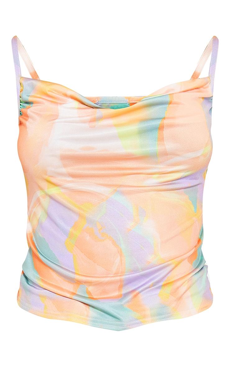 Purple Abstract Print Slinky Cowl Cami Top 5