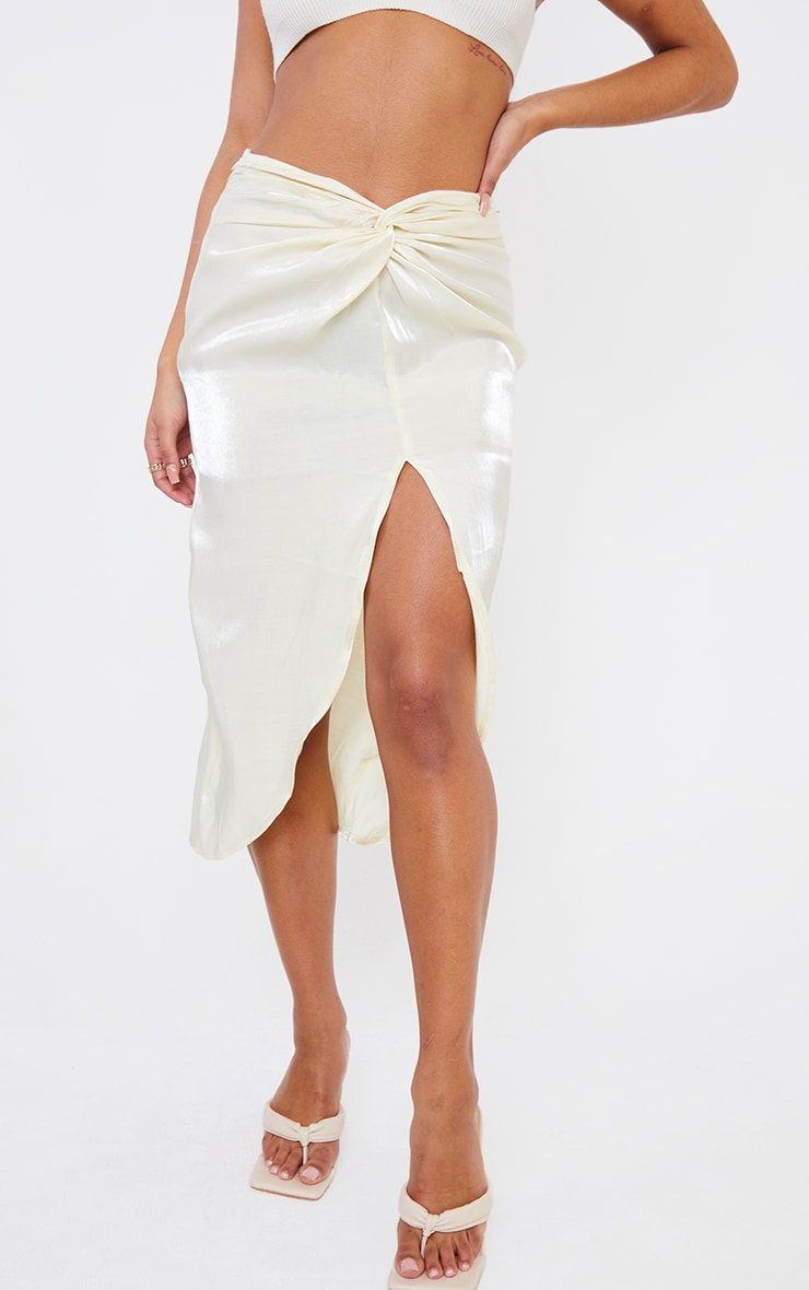 Cream Satin Shimmer Twist Front Midi Skirt 2