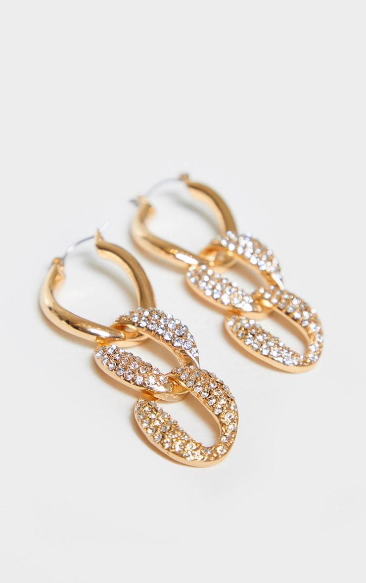 Gold Pave Chain Hoop Earrings 3