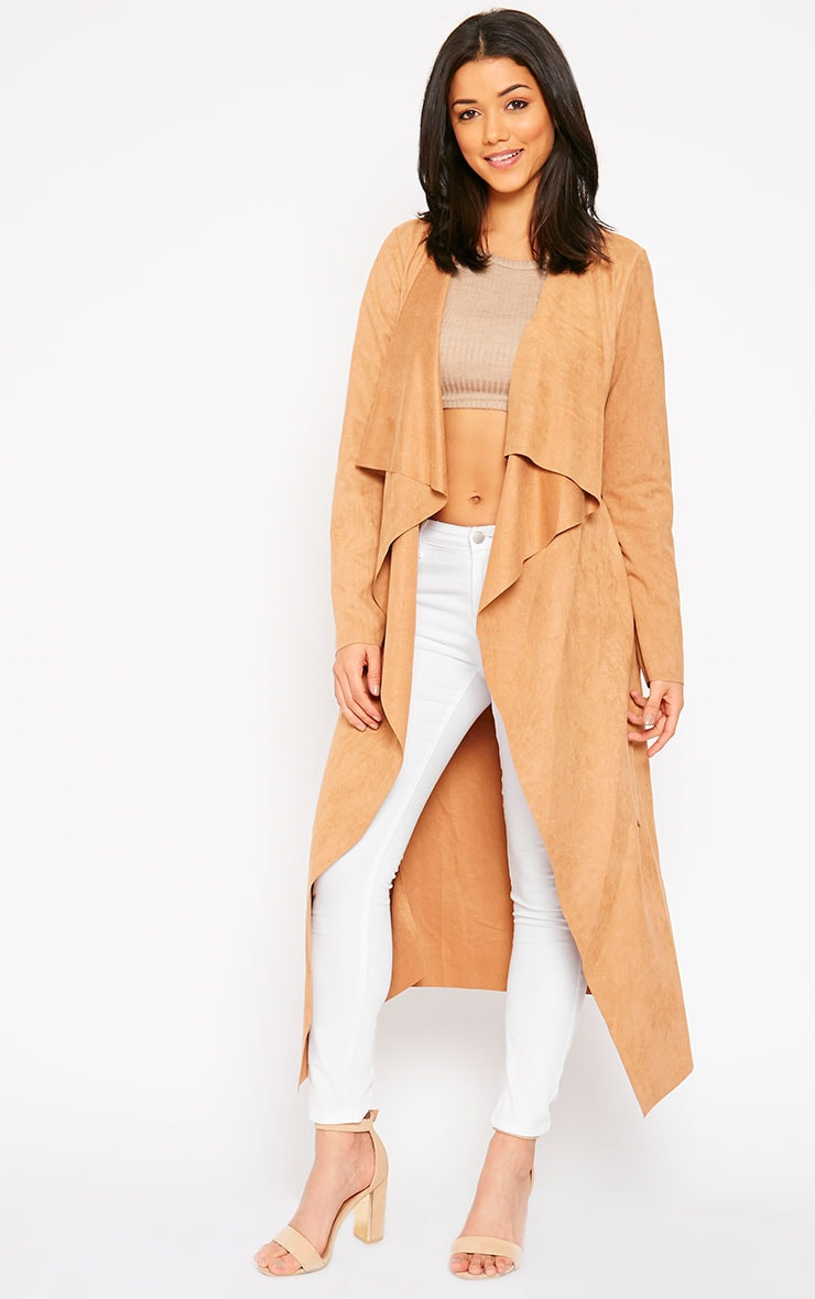 Liberty Camel Suede Waterfall Coat 4