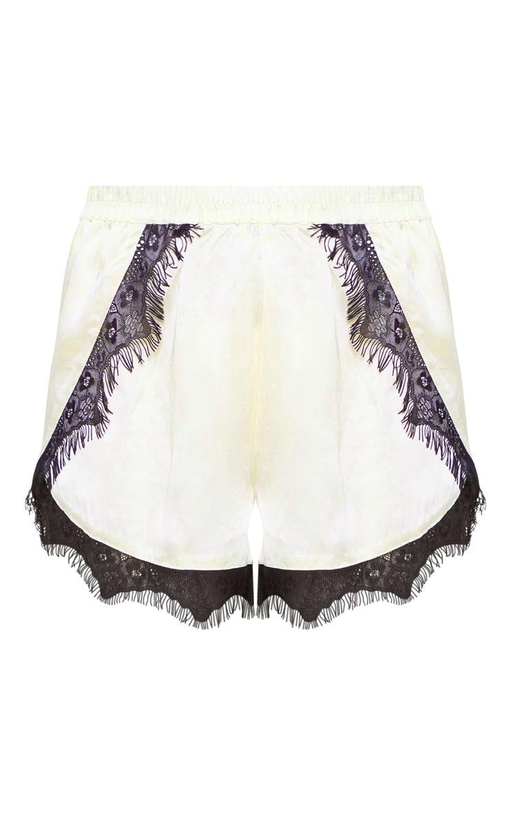 Champagne Lace Trim Satin Pyjama Short  3