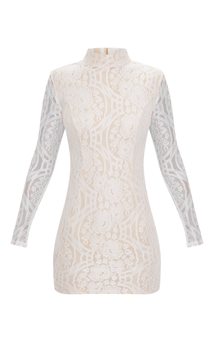 White High Neck Long Sleeve Lace Bodycon Dress 3
