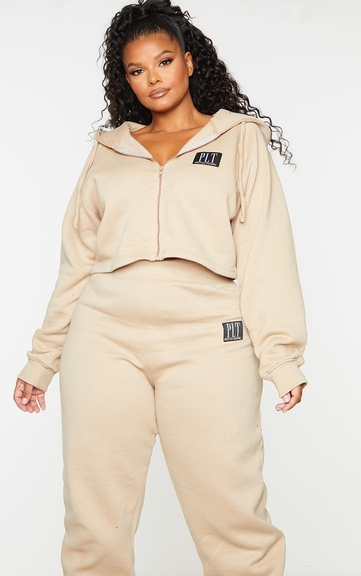 PRETTYLITTLETHING Plus Stone Badge Zip Up Cropped Hoodie 1