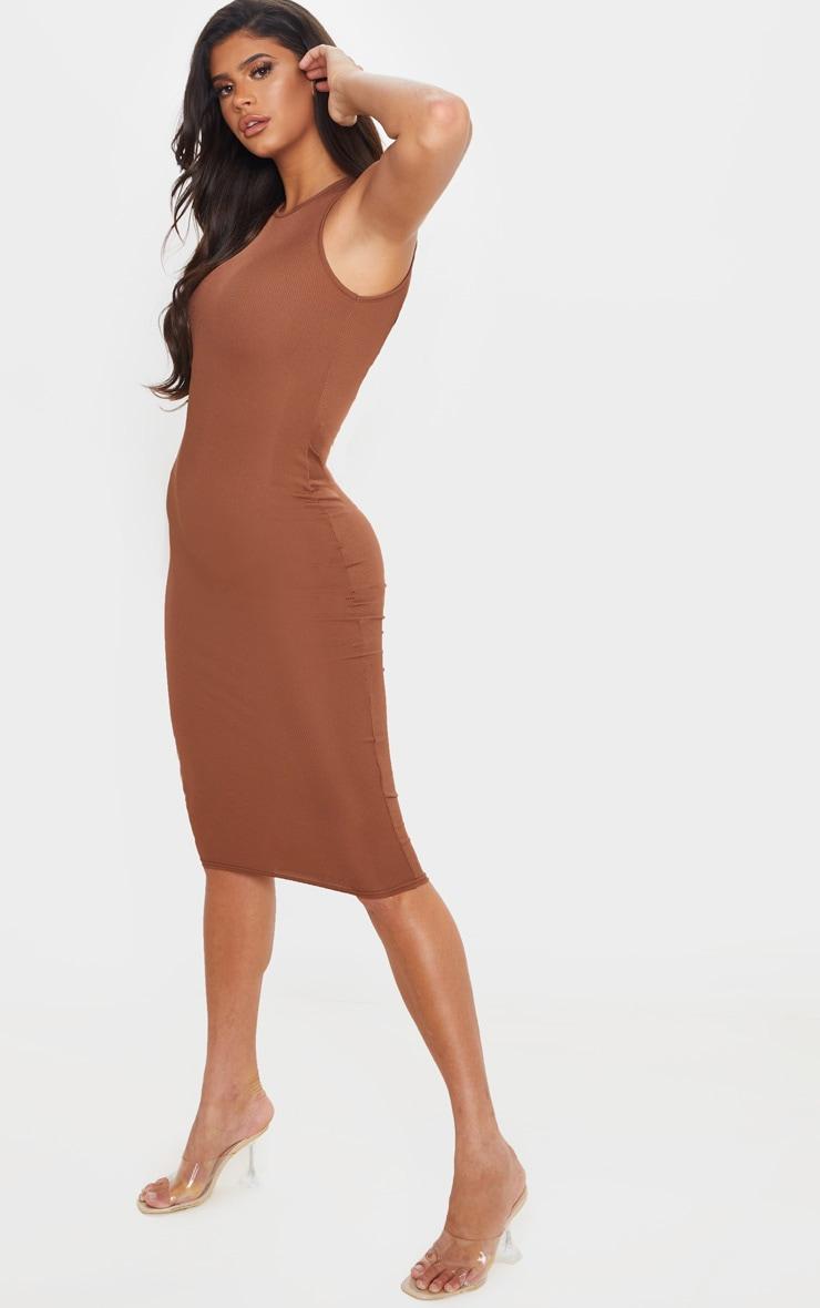 Chocolate Brown Ribbed Midi Dress 4