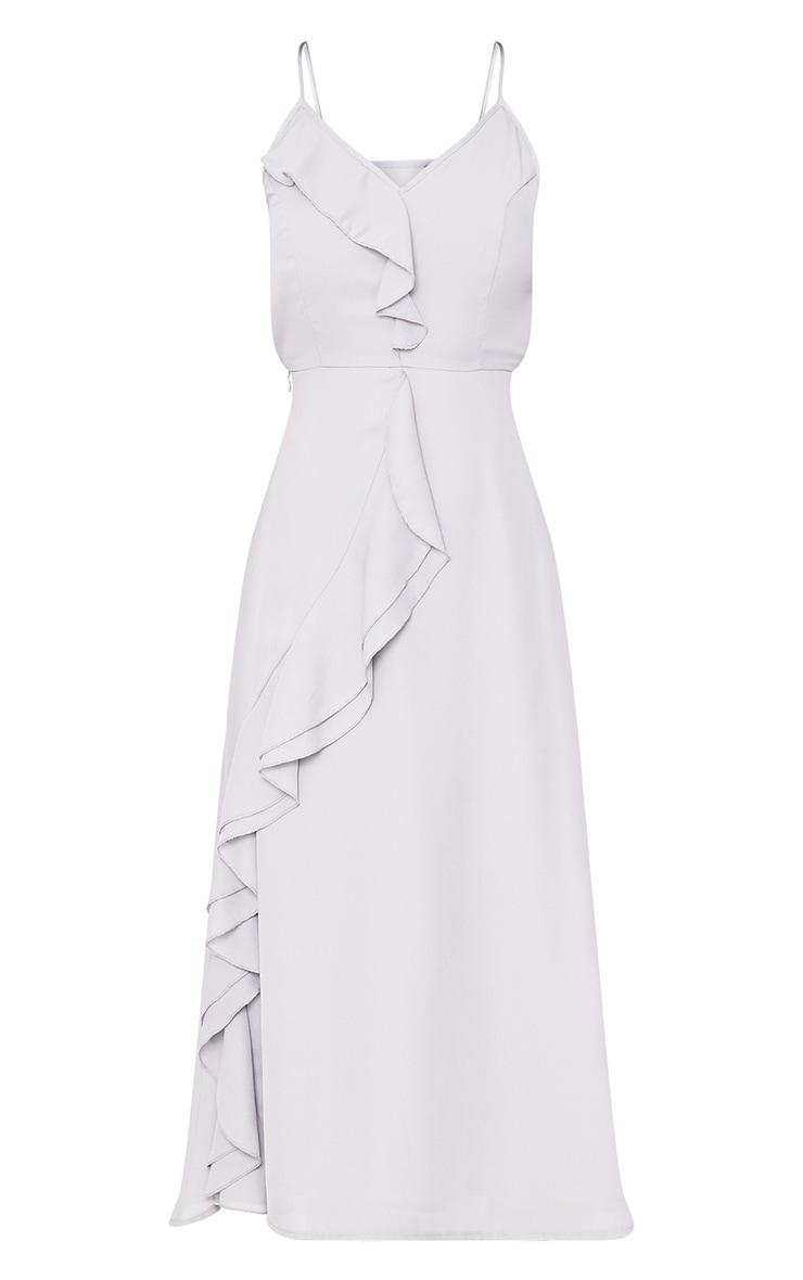 Dallia Ice Grey Ruffle Detail Midi Dress 3