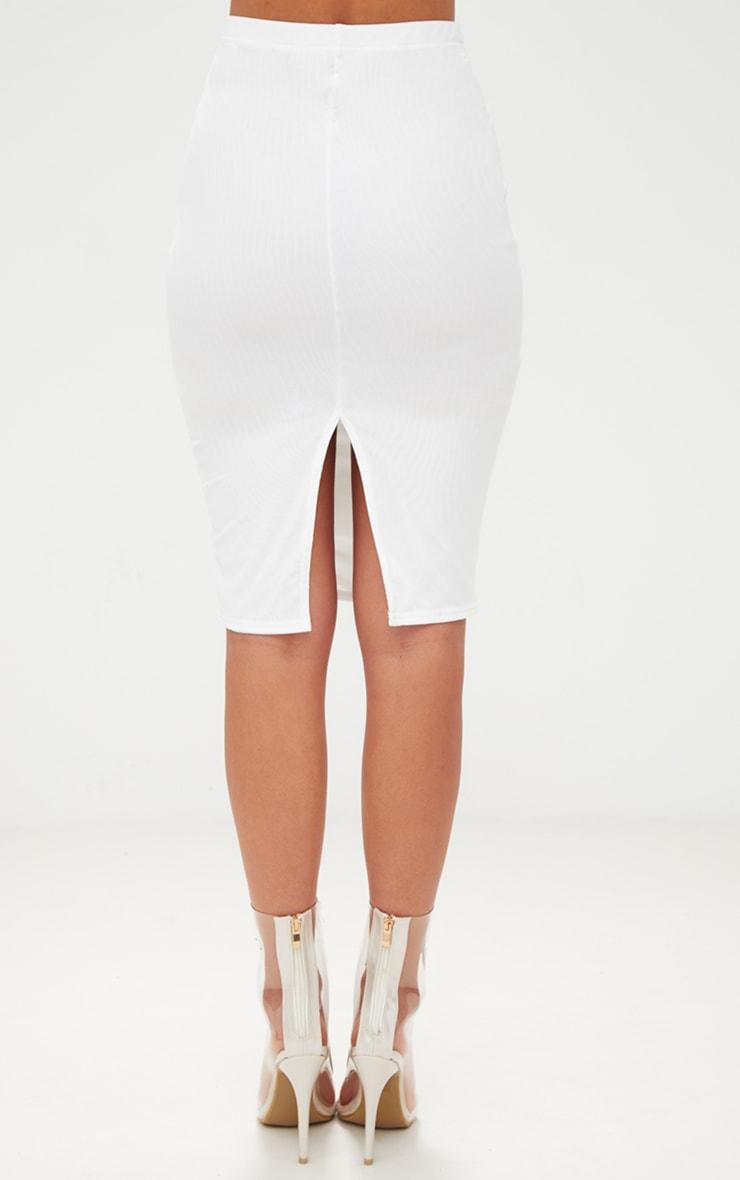 White Mesh Midi Skirt 5