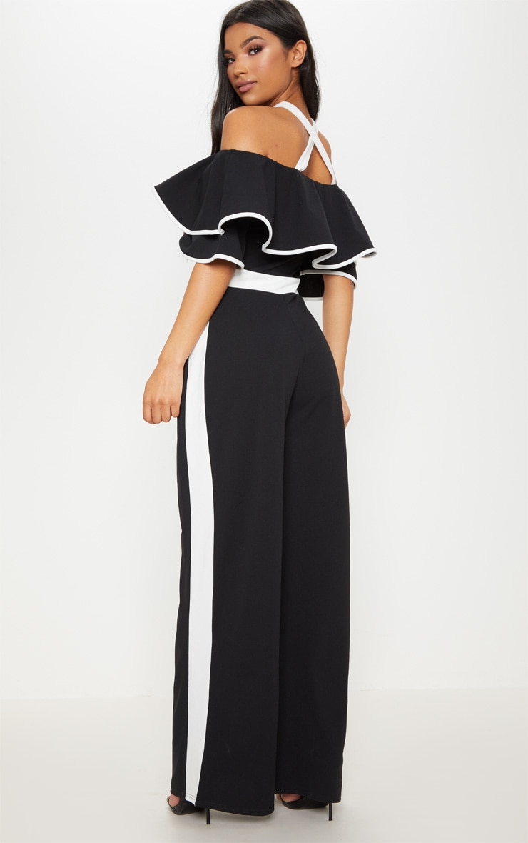 Mono Contrast Cold Shoulder Jumpsuit 2