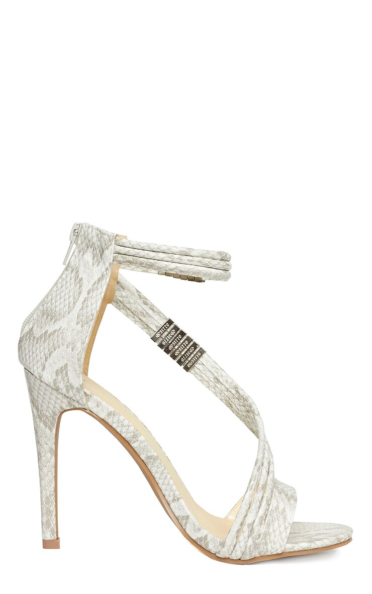 Riley Snake Cross Strap Heeled Sandals 7