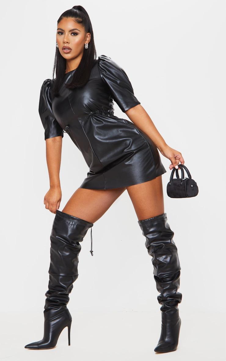 Black Faux Leather Puff Sleeve Toggle Waist Shift Dress 1