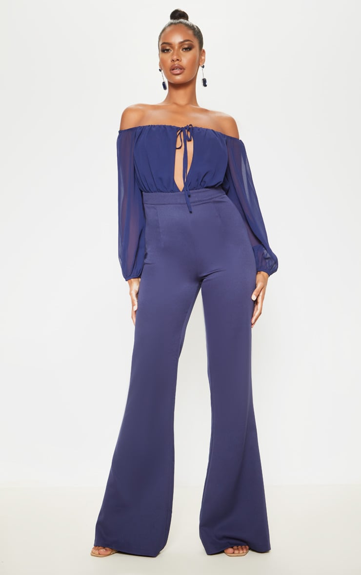 Midnight Blue Tie Front Puff Sleeve Flared Jumpsuit 1
