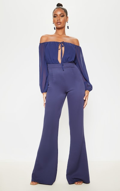 Midnight Blue Tie Front Puff Sleeve Flared Jumpsuit