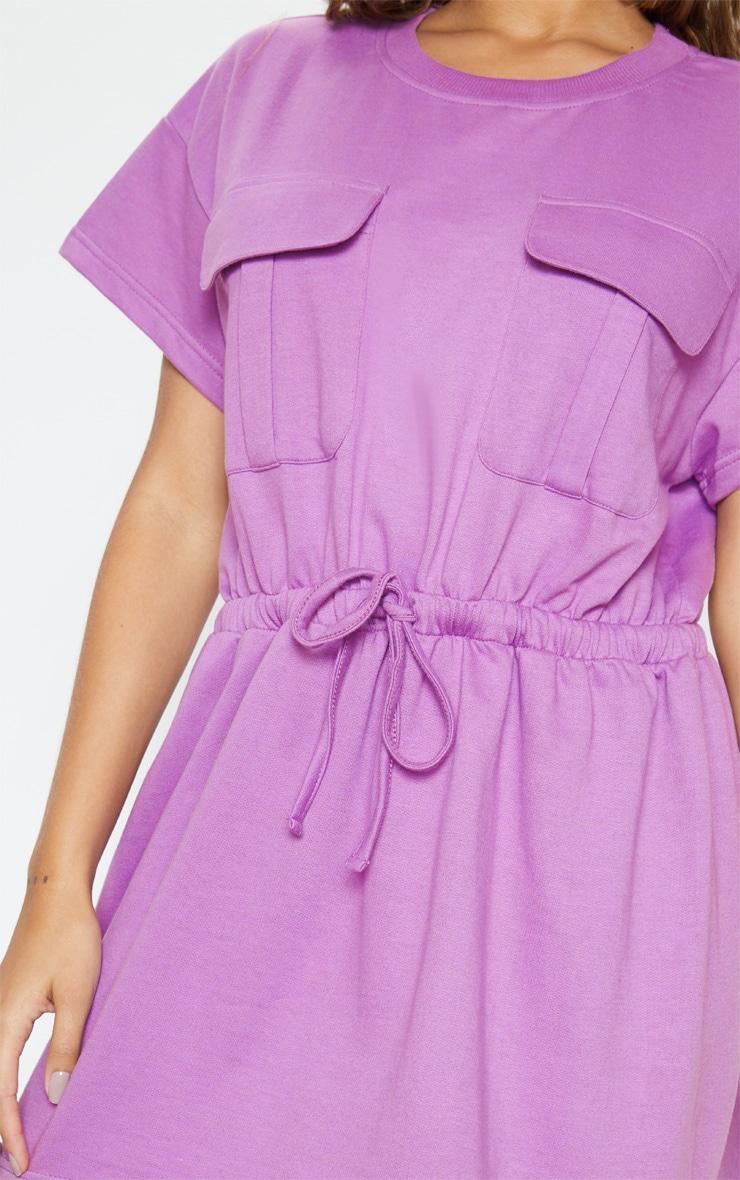 Robe pull lilas à poches et lien à la taille 5