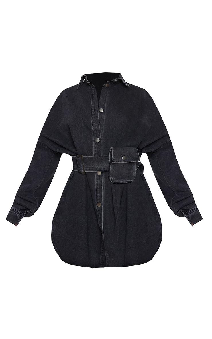 Washed Black Pocket Detail Off The Shoulder Oversized Denim Dress 5