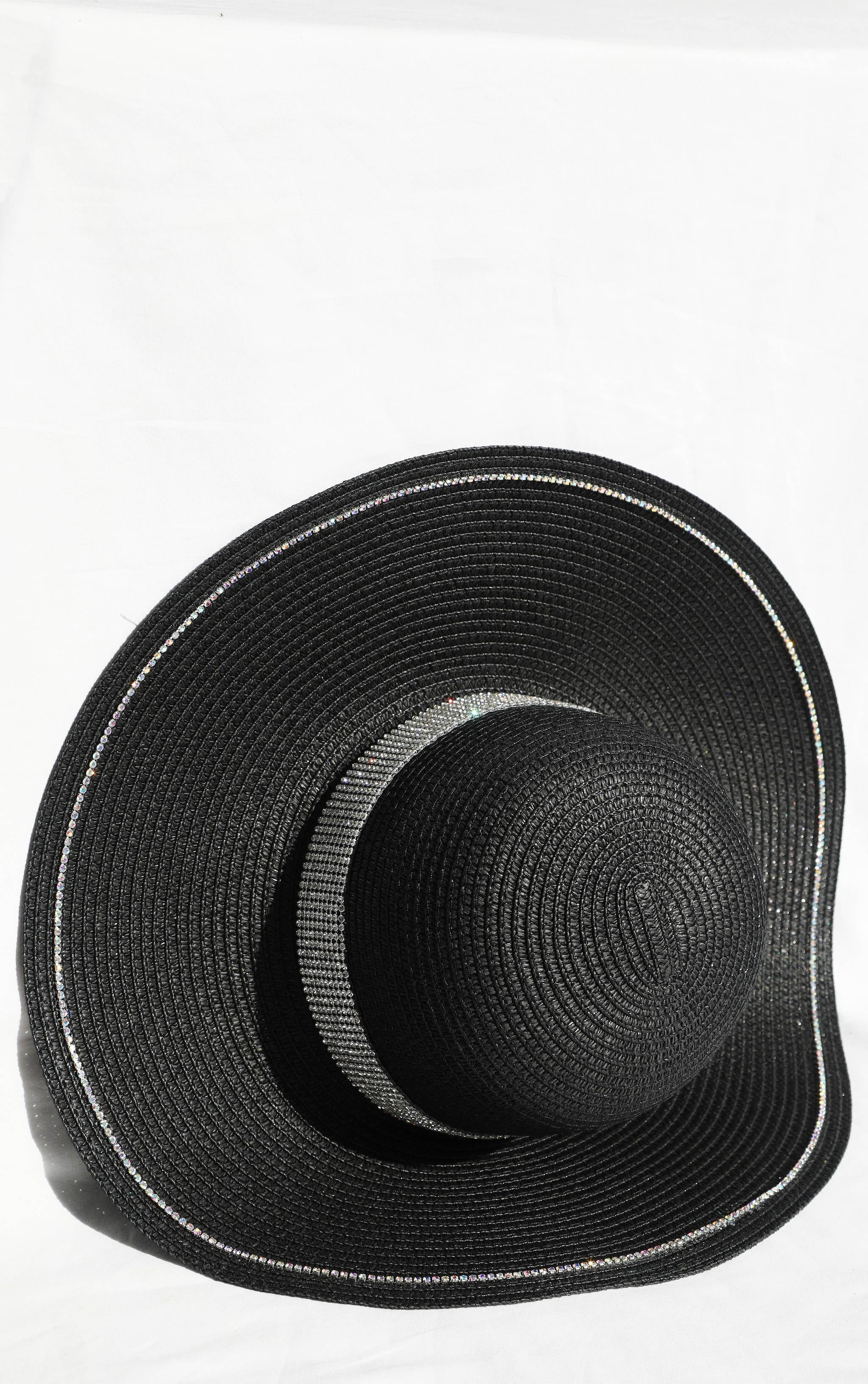 Black Straw Glitter Band Boater Hat 3