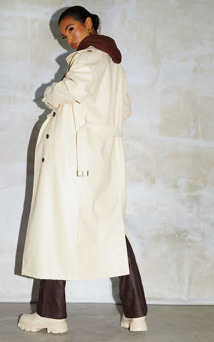 Cream Faux Leather Drop Shoulder Button Down Trench 2