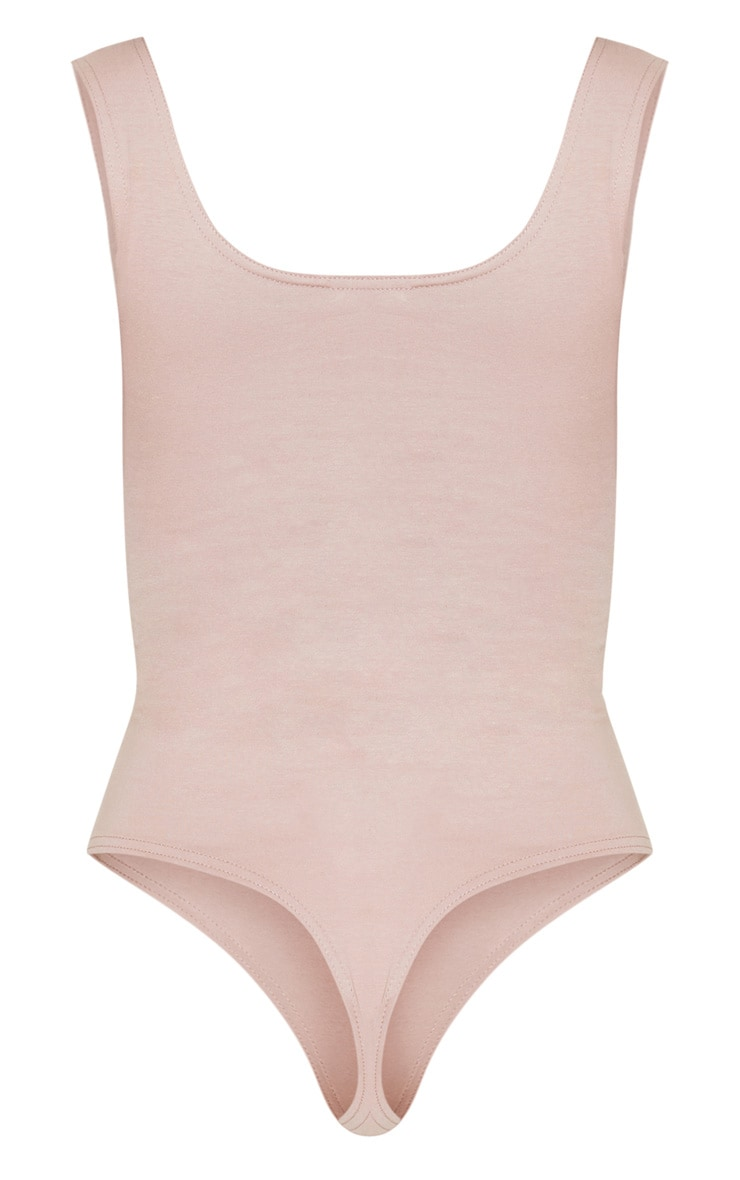Dusty Pink Cotton Stretch Scoop Neck Thong Bodysuit 4