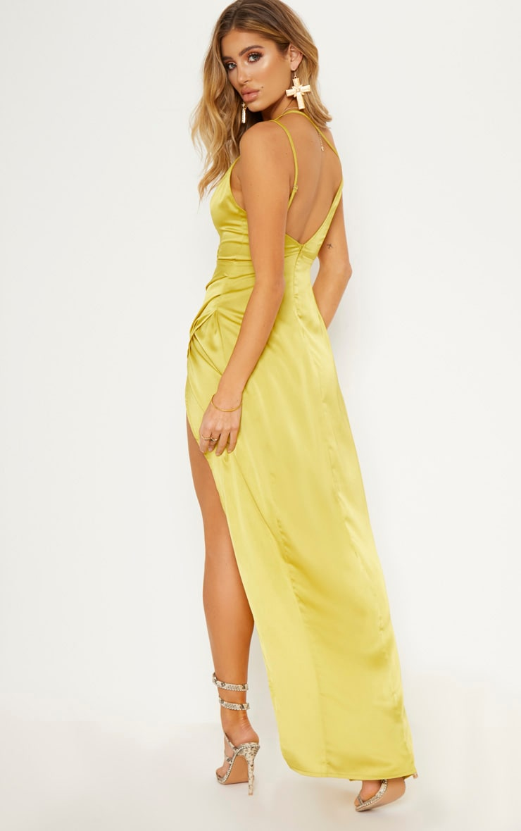 Chartreuse Asymmetric Sleeve Cut Out Split Leg Maxi Dress  3