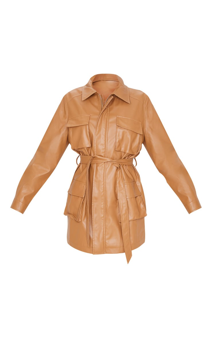 Camel Faux Leather Pocket Oversized Jacket  3