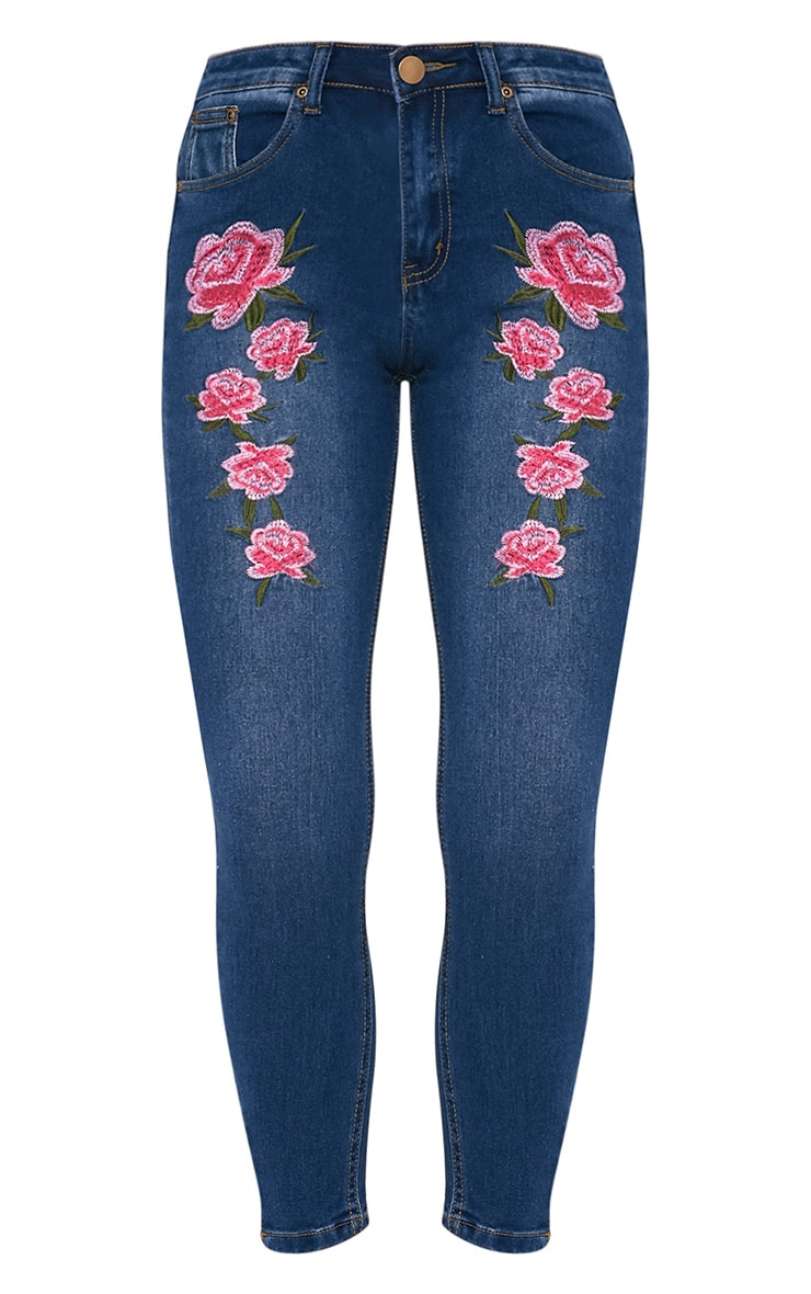 Mid Wash Embroidered High Waisted Skinny Jean 3