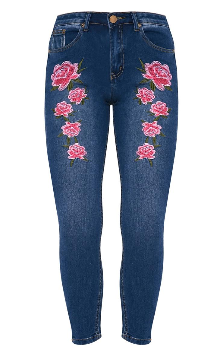 Khloe jean skinny taille haute brodé délavage moyen 3