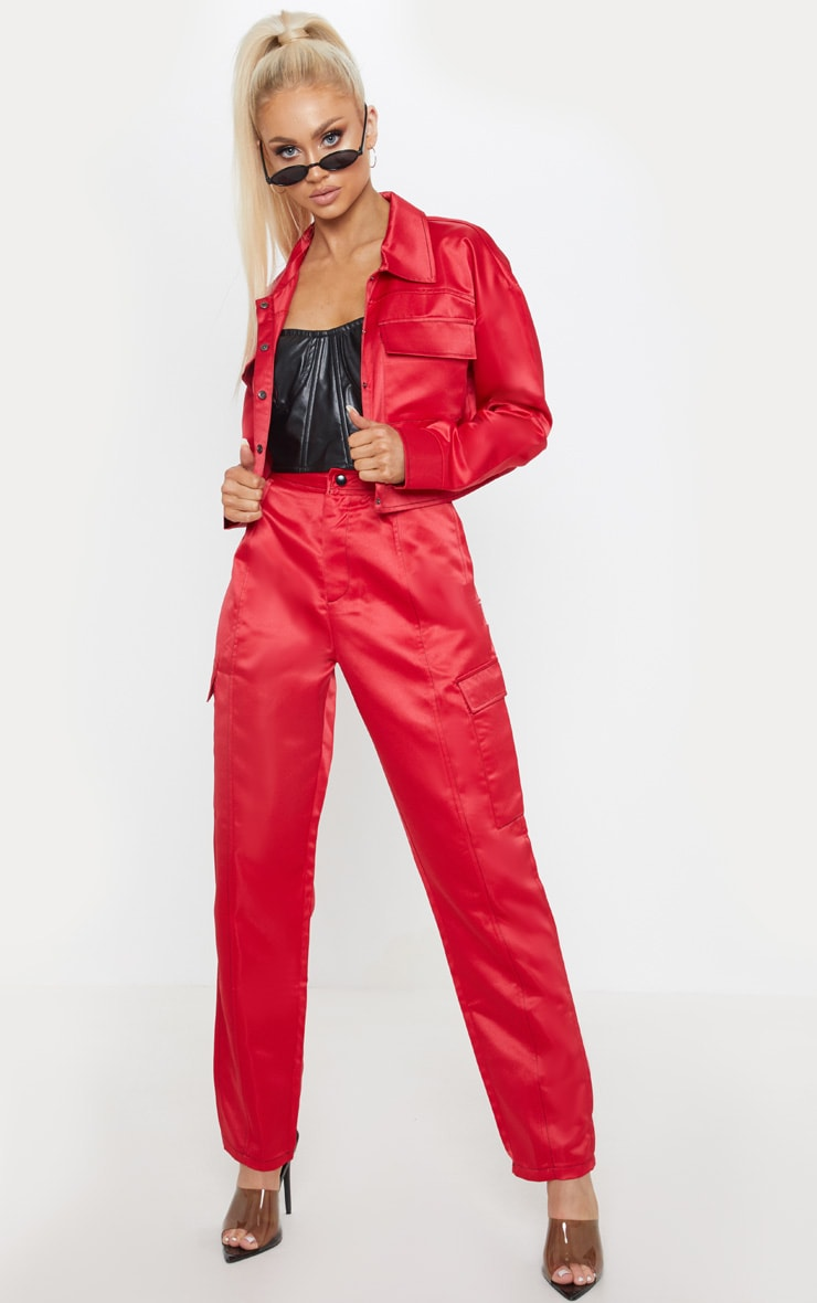 Red Contrast Stitch Pocket Detail Cargo Trouser