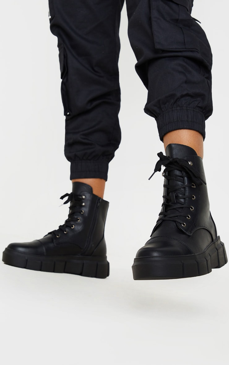 Black High Ankle Lace Up Chunky Boot 2
