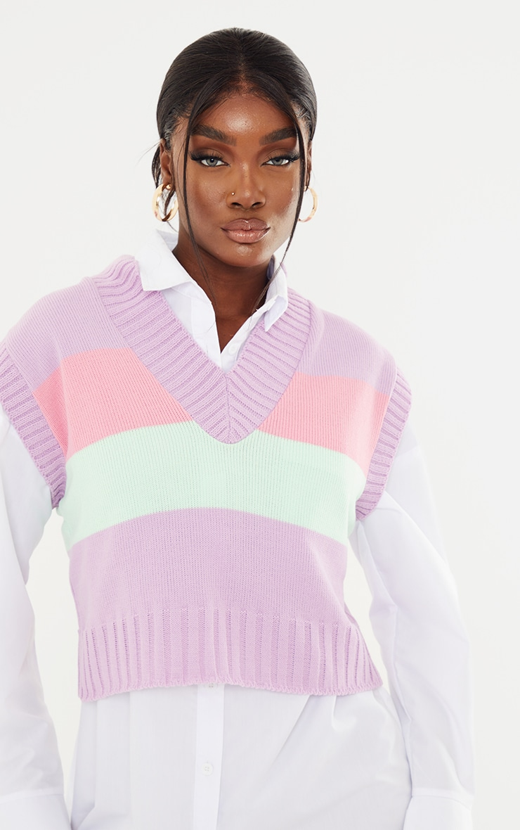 Tall Pastel Striped Cropped Vest 4
