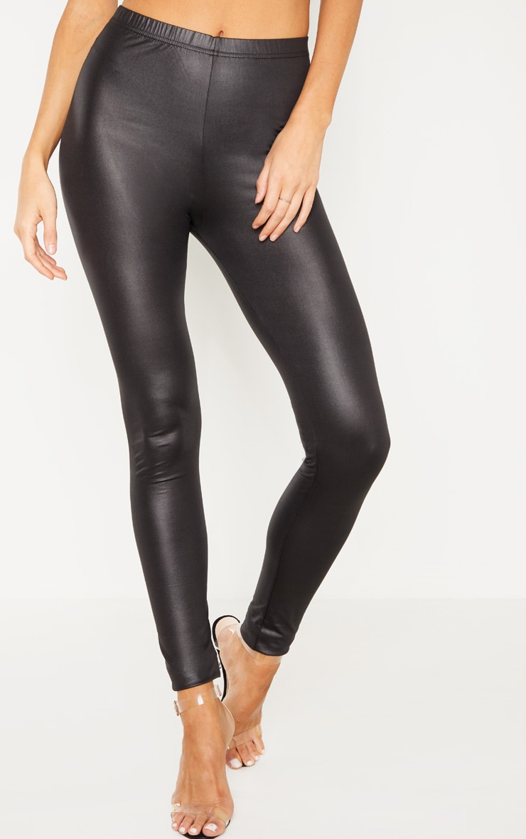 Tall  Black PU Leggings 2