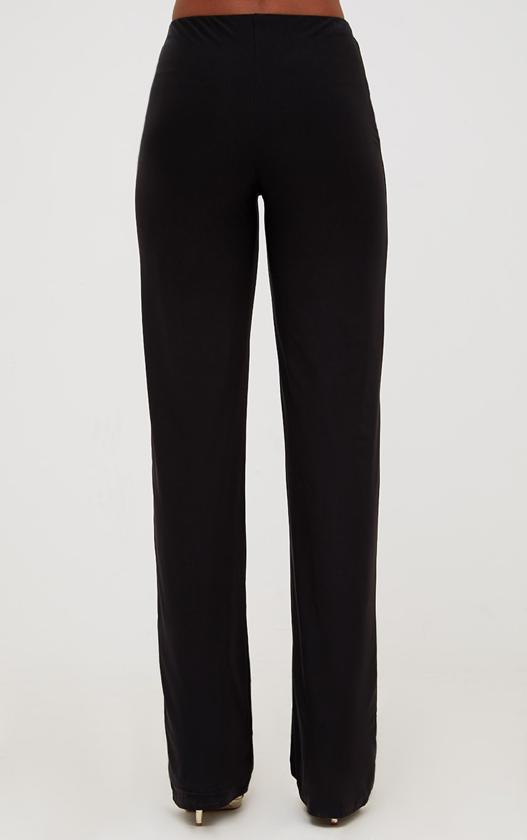 Black Double Layer Slinky Wide Leg Trousers 4