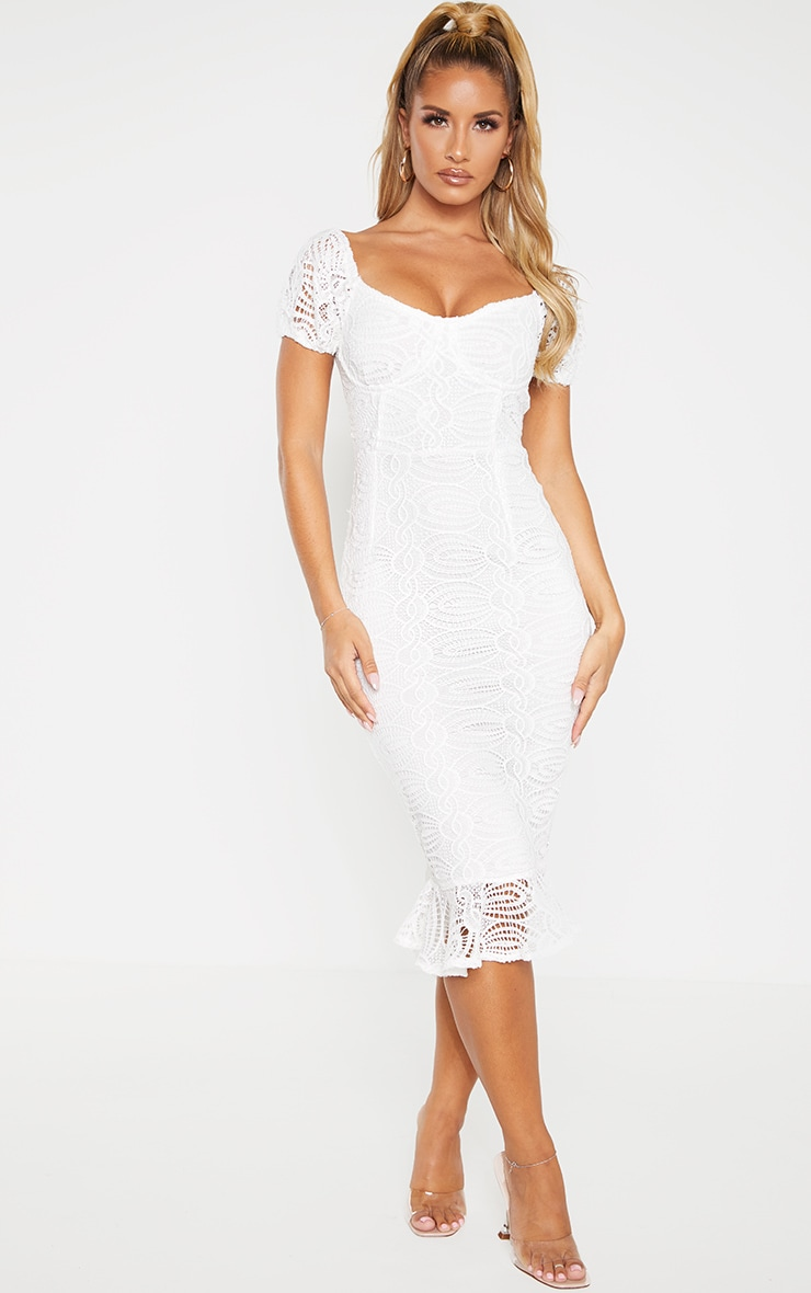 White Cup Detail Lace Bardot Midi Dress 1