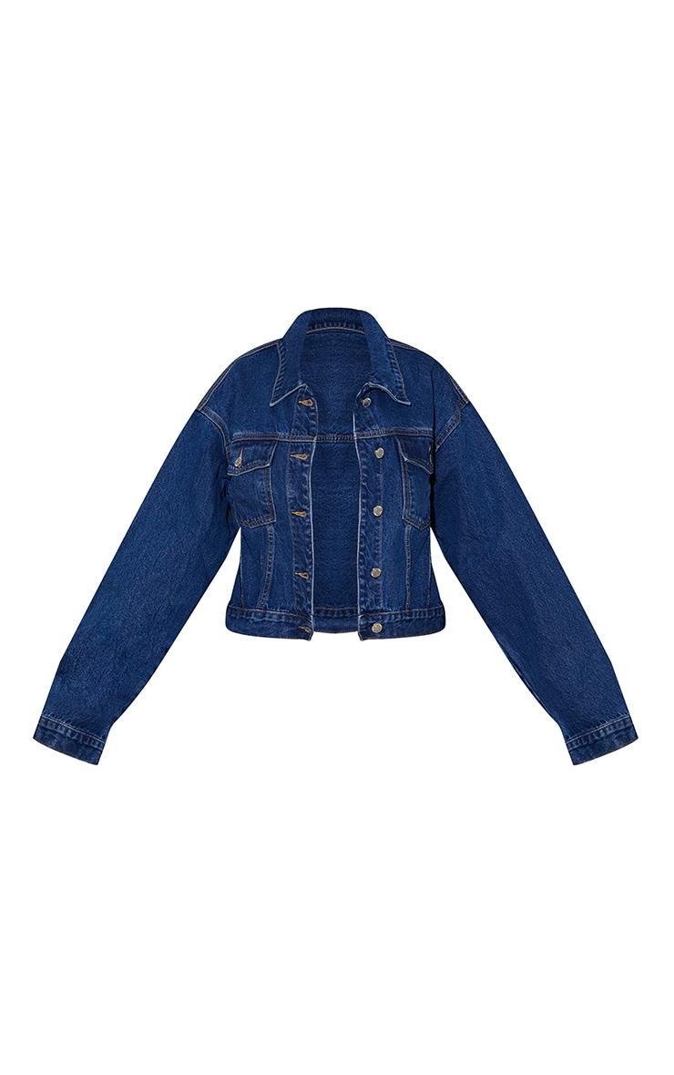 PRETTYLITTLETHING - Veste en jean bleu foncé style girlfriend oversize 5