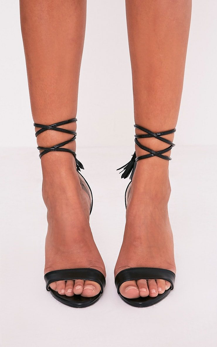 Shiah Black Lace Tie Heeled Sandals 3