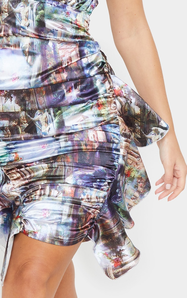 Multi Renaissance Satin Sleeveless Ruched Frill Dress 4