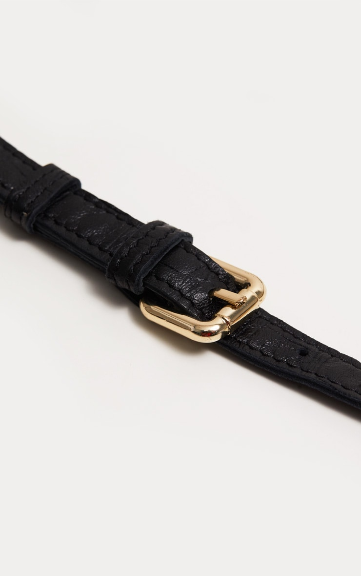 Black Real Leather Croc Cross Body Bag 4