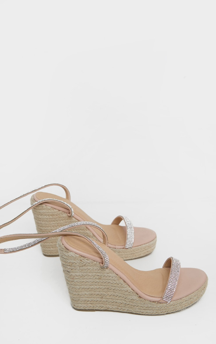 Nude Diamante Lace Up Wedge Sandal 3