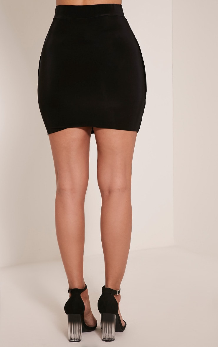 Kelsie Black Drape Layered Slinky Mini Skirt 5